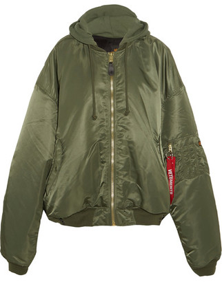 Vetements - + Alpha Industries Oversized Hooded Reversible Shell Bomber Jacket - Army green $2,175 thestylecure.com