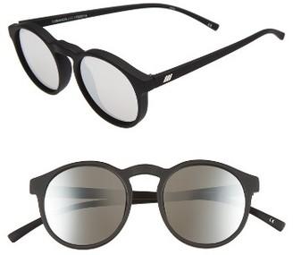Women's Le Specs Cubanos 47Mm Round Sunglasses - Black Rubber $59 thestylecure.com