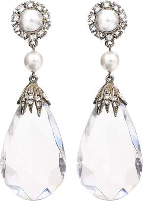 Ben-Amun Imitation Pearl & Crystal Clip Earrings