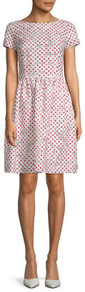 Oscar de la Renta Polka Dot A-Line Dress