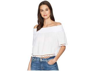 Michael Stars Double Gauze Short Sleeve Smocked Cropped Top with Tassels Women's Clothing