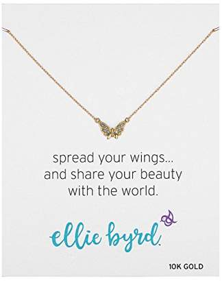 """Swarovski ellie byrd 10k Yellow Gold Butterfly Necklace Made with Crystal (17"""")"""