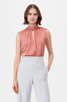 Tailored Silk Charmeuse Mock Neck Top