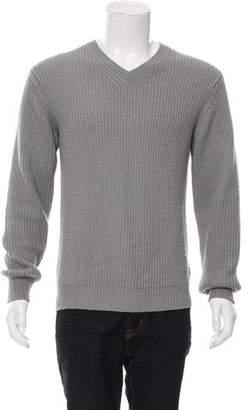 Calvin Klein Collection Woven V-Neck Sweater