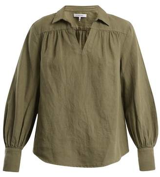 Frame Open Collar Cotton Blend Top - Womens - Khaki