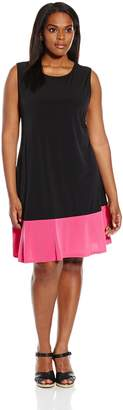 Tiana B Women's Plus Size Sleeveless Color Block Swing Dress, Black/Pink, 18W