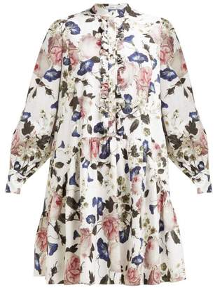 Erdem Quentin Apsley Floral Print Ruffled Dress - Womens - White Print