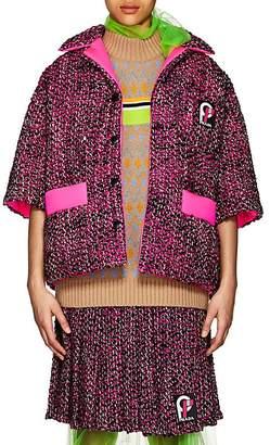 Prada Women's Logo Wool Tweed Coat
