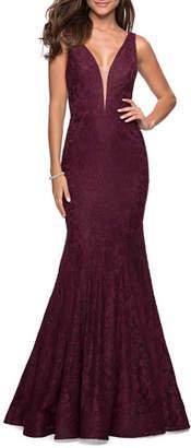 La Femme V-Neck Sleeveless Stretch-Lace Mermaid Gown