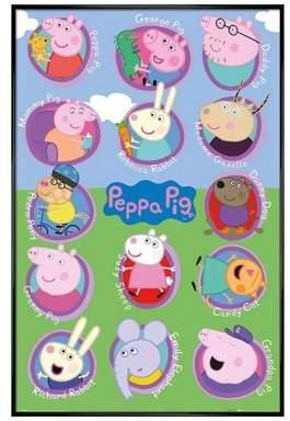 Peppa Pig Gloss Black Framed Multi Characters Poster 61X91.5Cm