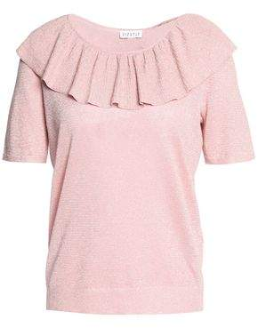 Claudie Pierlot Ruffle-Trimmed Metallic Knitted Top