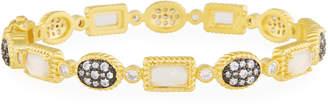 Freida Rothman Gilded Cable Stone Station Hinge Bracelet