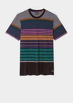 Paul Smith Men's Black Multi-Coloured Stripe Organic-Cotton T-Shirt
