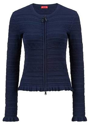HUGO BOSS Zipped knitted cardigan with three-dimensional structure