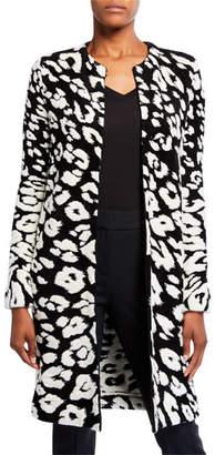 Oscar de la Renta Leopard-Print Wool Cardigan