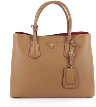 Prada Cuir Double Tote Saffiano Small Light Brown