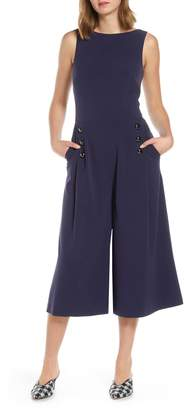 Vince Camuto Button Detail Crop Wide Leg Jumpsuit