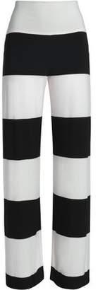 Norma Kamali Striped Jersey Wide-Leg Pants