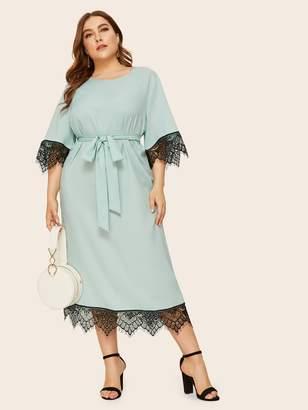 Shein Plus Keyhole Back Lace Trim Belted Dress