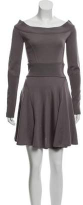 Alaà ̄a Virgin Wool Fit & Flare Dress Purple Alaà ̄a Virgin Wool Fit & Flare Dress