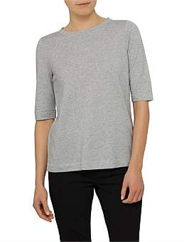 David Jones Half Sleeve Cotton Linen Marle Top