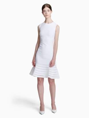 Calvin Klein eyelet hem flounce dress