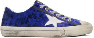 Golden Goose Blue and White Velvet Superstar Sneakers