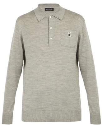 Undercover Long Sleeved Wool Polo Shirt - Mens - Grey