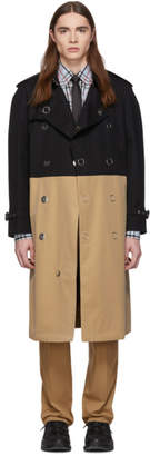 Burberry Black and Beige Gabardine Trench Coat