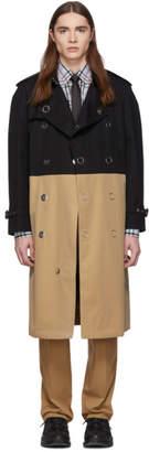Burberry Black and Beige Gabardine Trench Coat