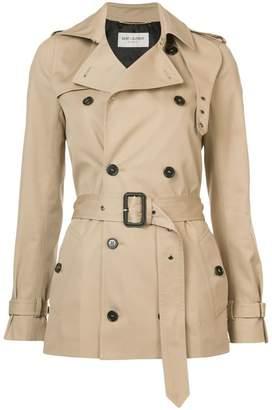 Saint Laurent short garbadine trench coat