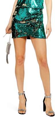 Topshop Sequin Drape Miniskirt