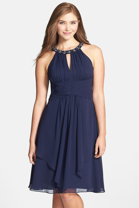Eliza J Embellished Neck Layered Chiffon Fit & Flare Dress $198 thestylecure.com