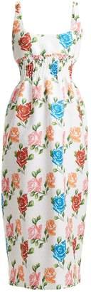 Emilia Wickstead Giovanna floral-print shirred cloqué dress