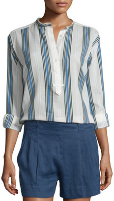 Vince Multi-Striped Silky Henley Shirt $245 thestylecure.com