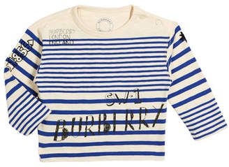 Burberry Stripe Scribble-Print Long-Sleeve Shirt, Size 6M-3