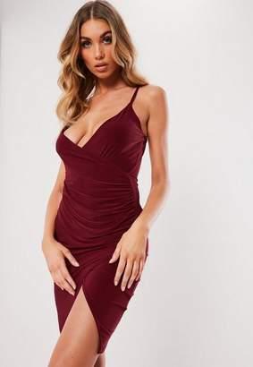 Missguided Burgundy Strappy Slinky Wrap Bodycon Midi Dress