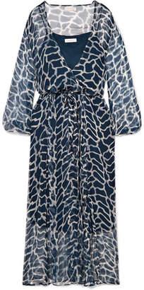 Cloe Cassandro - Jemima Giraffe-print Silk-crepon Wrap Midi Dress - Navy