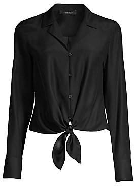 Lafayette 148 New York Women's Miley Tie-Front Silk Blouse
