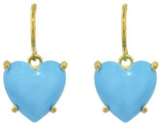 Irene Neuwirth 11mm Cabochon Heart Kingman Turquoise Earrings - Yellow Gold