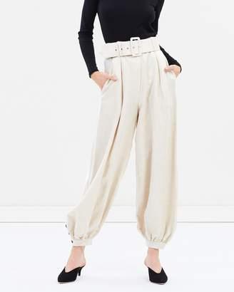 Shona Joy Linen Tailored Harem Pants with Belt