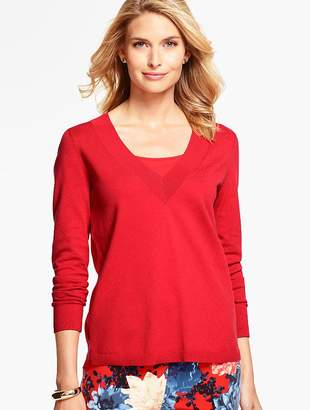 Talbots Woven-Back V-Neck Sweater