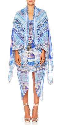 Camilla The Long Way Home Open-Front Silk Kimono Robe Coverup, One Size