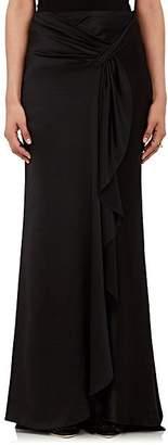 Alberta Ferretti Women's Silk Satin Sarong-Draped Skirt - Black