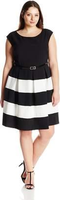 Tiana B Women's Plus-Size Crepe Color-Block Dress with Cap Sleeve, Black/White