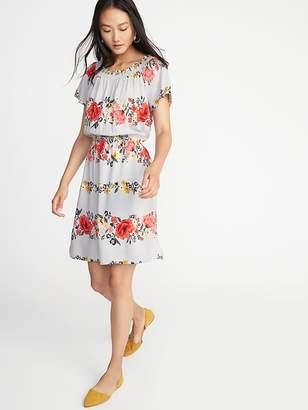 Old Navy Waist-Defined Smocked-Neck Dress for Women