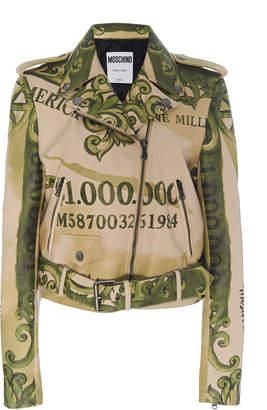 Moschino Printed Leather Biker Jacket