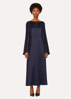 Paul Smith Women's Navy Satin Dress With Contrasting Side Panels