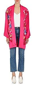 Alice Archer Women's Frances Embroidered Silk Kimono - Pink