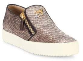 Giuseppe Zanotti Snake-Embossed Leather Slip-On Sneakers